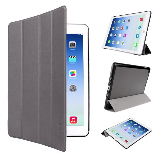 iPad Air Hülle, EasyAcc Ultra Slim iPad Air Hülle Case Cover Schutzhülle Bumper Lederhülle mit Standfunktion / Auto Sleep Wake up für iPad Air 2013 (Modellnummer A1474 A1475 A1476) - Grau, Ultra Slim