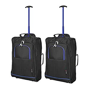 Set of 2 Super Lightweight Cabin Approved Luggage Travel Wheely Suitcase Wheeled Bags Bag Black/Red + Black / Blue (2 x Black /Blue)
