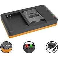 Cargador doble (Corriente, USB) para EN-EL23 / Nikon Coolpix B700, P600, P610, P900, S810c | Fuente de alimentación incluido