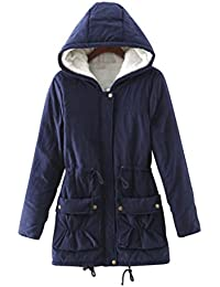 LvRao Mujer chaqueta de abrigo para invierno chaquetas con caliente capucha espesan forro de piel parkas