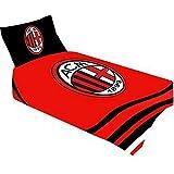 AC Milan, Offizielles Produkt, Einzelbett Bettbezug und Kissenbezug-Design, Polyester, rot, Einzelbett