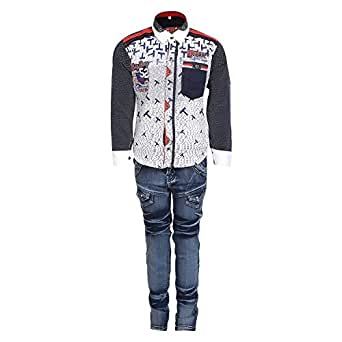 AJ Dezines Kids Party Wear Shirt and Jeans Clothing Set for Boys (677_WHITE_22)