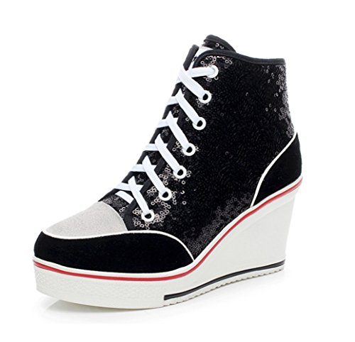 mogeek Damen Wedges Sportschuhe High Top Freizeit Keilabsatz Sneaker Schnürer Pailletten Fashion Damenschuhe Größe 35-43 (Schwarz, 43)