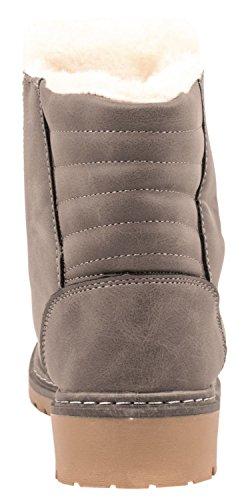 Elara Damen Worker Boots | Bequeme Warm Gefütterte Schnürrer | Outdoor Stiefeletten Grau Hamburg