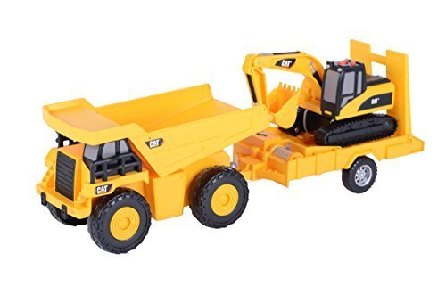 Toy State Light and Sound CAT Truck N' Trailer Dump Pulling Excavator Vehicle by Toystate