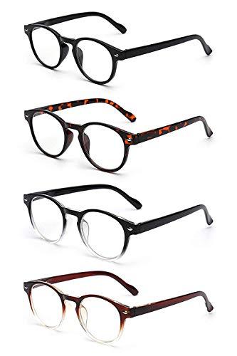 JM 4 Pack Federscharnier Lesebrille Vintage Runden Brillen für Leser Damen Herren +2.75 Mischfarbe