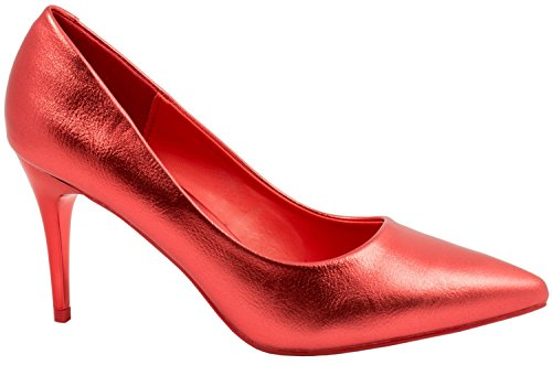 Elara Damen Pumps Spitze High Heels Stilettos Lack Rot Fashion