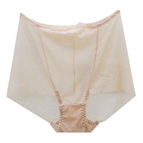 Zhhlinyuan Gute Qualität Casual Ladies Hollow Hipster Panty Skin-friendly Underwear Transparent Lingerie High Waist Multicolor Beige