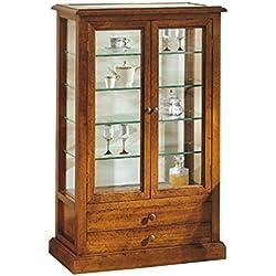 Vitrina, estilo clasico, en madera maciza y mdf con acabado nogal pulido - Medidas 61 x 31 x 97