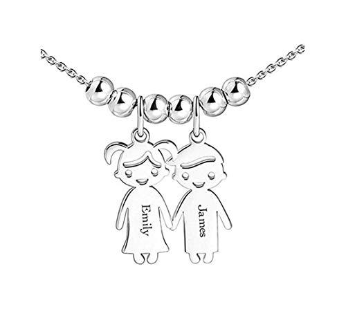Panicy Personalisierte Kinder Charms Muttertag Halskette - gravierte Boy Girl Charm - Sterling Silber Geschenk für Mama Oma (Charms Personalisierte Halskette)