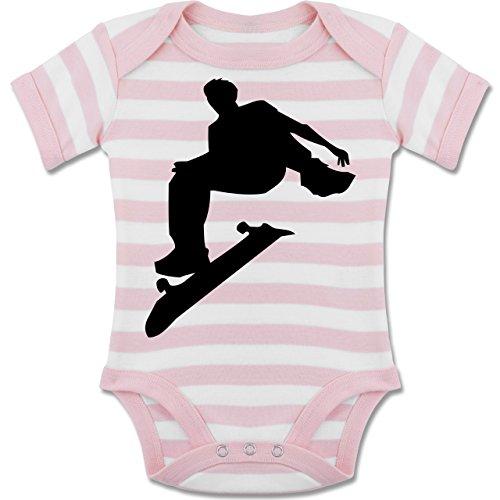 Skateboard-baby-kleidung (Sport Baby - Skater - 3-6 Monate - Babyrosa/Weiß - BZ10S - Gestreifter Kurzarm Baby-Strampler/Body Für Jungen und Mädchen)