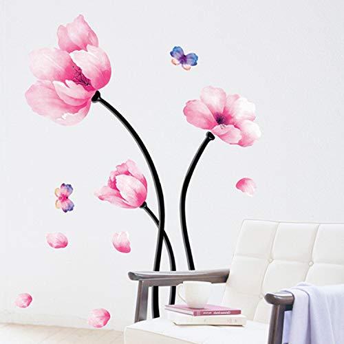 JXWR Blühender Traum Wohnzimmer Kinderzimmer Nacht TV Hintergrund Dekoration kreativ Aquarell Blume Wandaufkleber 50x70cm -