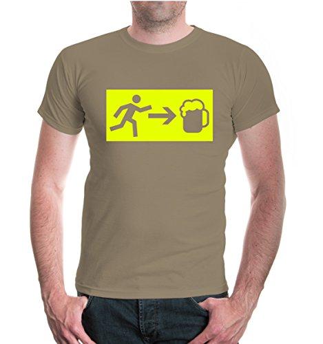 buXsbaum® T-Shirt Notfall Bier Khaki-Neonyellow
