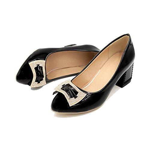 VogueZone009 Femme à Talon Correct Verni Mosaïque Tire Rond Chaussures Légeres Noir