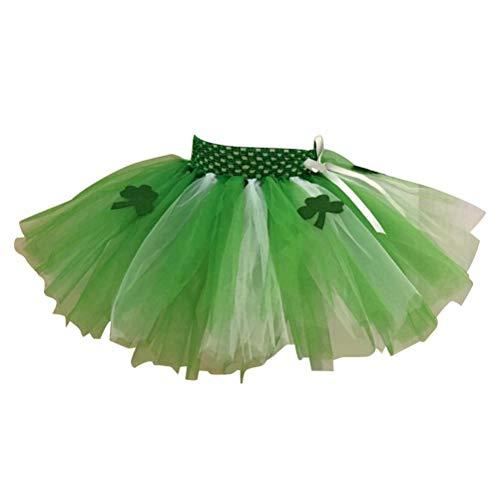 Tag Tutu Rock Klee Tutu 2 Schichten für Mädchen St.Patrick's Tag Karneval Kostüm S ()