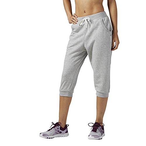 Reebok Damen Elements French Terry Dropped Crotch Capri Trainingshose, Medium Grey Heather, 2XS - French Terry Capri