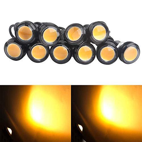 DRL Nebelscheinwerfer, 10pcs 9W 23mm Eagle Eye LED LightMotorrad Licht Tagfahrlicht 12V Wasserdicht mit Schraube für Motorrad-Autos (Gelb) - Eye Lights Eagle