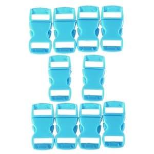 10pcs 0.39in (10mm) Colorful Contoured Side Release Buckles Hook For Paracord Bracelet-Sky Blue