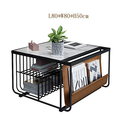 Ynn tavolino da salotto con ripiano in marmo tavolino da salotto con tavolino in ferro battuto (colore : nero, dimensioni : 80 * 50cm)