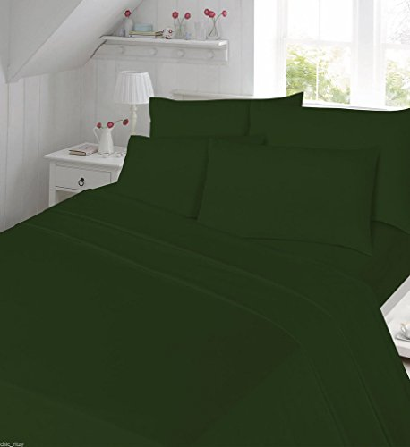Duvet Cover Set Plain Single Size Bed Percale Non Iron Bedding Set With Pillowcases Dyed Bed Quilt Cover 180 Thread Count , Green
