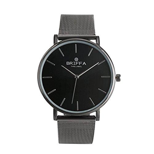 Amlaiworld classic unisex orologio da polso cinturino in acciaio orologi al quarzo casual (nero)