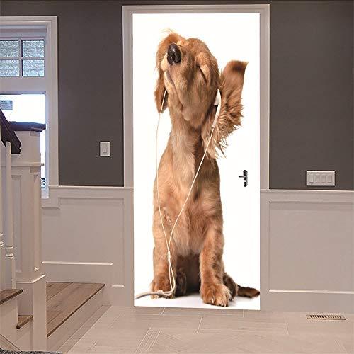 Tapete der Tür-3D (77X200Cm) Hund, der Musik hört Wasserdichte Qualitäts-selbstklebende Wandbilder für Schlafzimmer Wohnzimmer Diy Wall Applique Home Decoration -