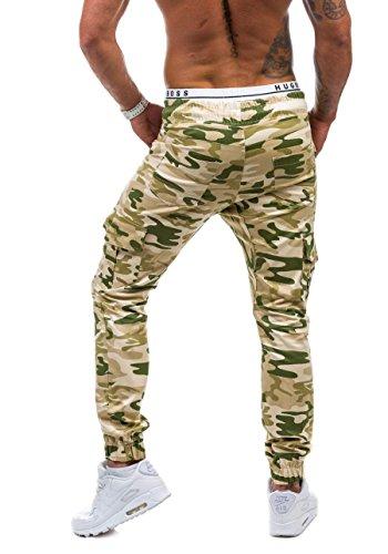 BOLF – Cargo Pantalons – Training pantalons – Baggy – Militaire – Camo – Motif – Homme [6F6] Beige