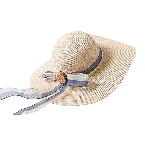 Kentop Damen Strohhut Faltbarer Breite Krempe Sonnenhut Sommer Strandhut mit Band Bogen (Beige) -