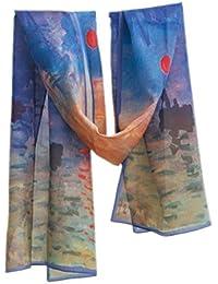 Prettystern P133 -160cm Foulard Echarpe Soie Artwork imprimé impression - Claude Monet - lever du soleil (Sunrise)