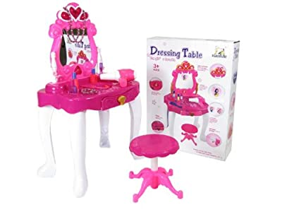 (DRPW) deAO Girls Princess Style Dressing Table Play Set with Light & Sound