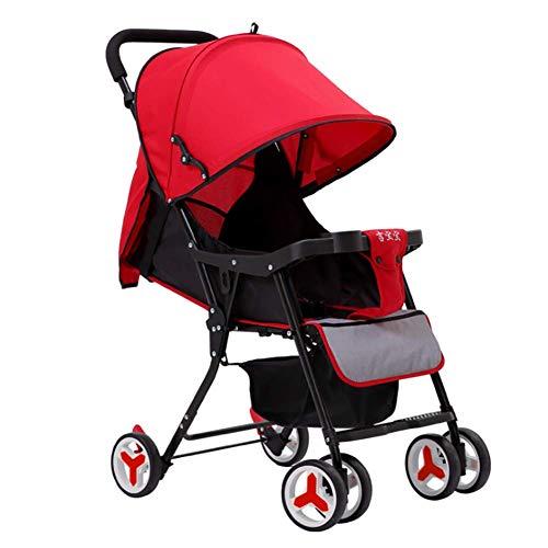 Huckyi Kinderwagen Kippfunktion, Geringes Gewicht, Kleine Faltung/Kind Von Der Geburt Bis 15 Kg, (Rot,Blau, Grau),Red (Geringes Kinderwagen Gewicht)