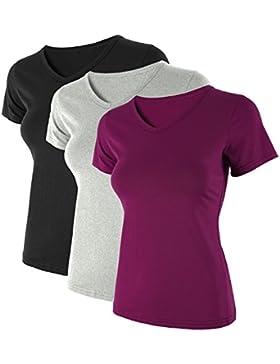 HENCY Maglietta Donna a Manica Corta Top T-Shirt Basic Camicetta Casual Tee Pacco da 3PCS Maglia Tinta Unita Scollo...
