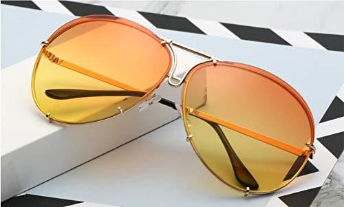 Sonnenbrille, Trendy Piloten Sonnenbrille Frauen Männer Klassische Marke Gläser Spiegel Sonnenbrille Gradient Gläser Outdoor Reisen Sommer Uv400 Gold Orange Gelb