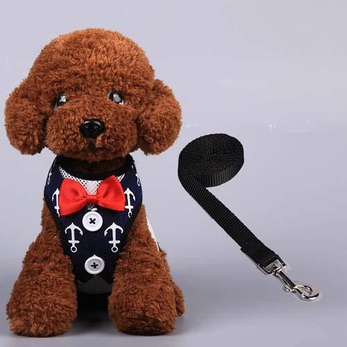 CGDZ Einstellbare Hundegeschirr weiche atmungsaktive Mesh Weste für kleine Hunde Leine Fliege Smoking Hundehalsband Walking Pet Puppy Brustgurt MI