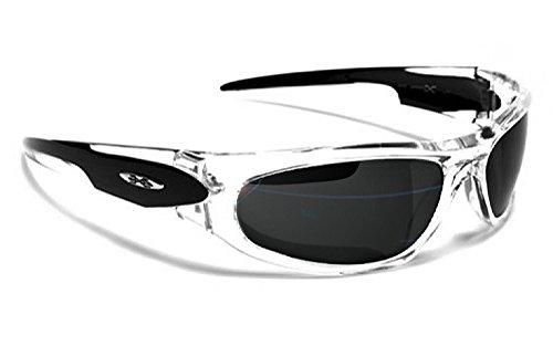 Occhiali da Sole X-Loop - Sport - Ciclismo - Sci - Corsa a Piedi - Moto - Tennis / Mod.012P Nero Traslucido / Un formato adulto / 100% Protezione UV-400