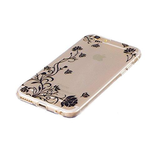 Cover iPhone 6S, Voguecase Custodia Silicone Morbido Flessibile TPU Custodia Case Cover Protettivo Skin Caso Per Apple iPhone 6/6S 4.7(Rainbow Unicorn-Blu) Con Stilo Penna Farfalla Amore Fiore 06/Nero