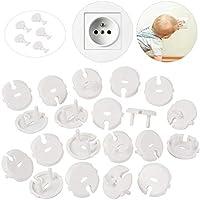 MOKIU 30pcs Protector Enchufes para niño Seguridad Enchufe de corriente con Caches Enchufe con mecanismo giratorio (25 caches + 5 llaves)