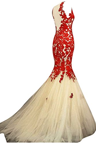 Sunvary Sexy Meerjungfrau Lang Tuell Spitze Ballkleider Partykleid Rot