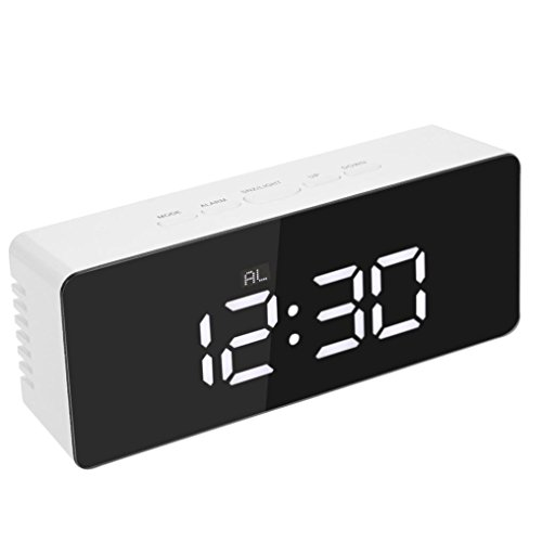 Jaminy Spiegel LED Wecker Multifunktions digitale elektronische Temperatur Snooze Clock (140*55*35)