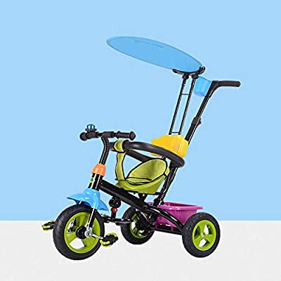 BGHKFF 4 In 1 Children's Hand Push Tricycle 6 Months To 6 Years Rear Wheel With Brake Children's Pedal Tricycle Detachable And Adjustable Push Handle Kids Tricycle Maximum Weight 25 Kg,Green