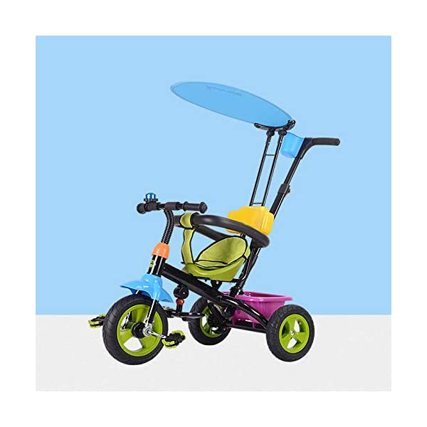 BGHKFF 4 In 1 Children's Hand Push Tricycle 6 Months To 6 Years Rear Wheel With Brake Children's Pedal Tricycle Detachable And Adjustable Push Handle Kids Tricycle Maximum Weight 25 Kg,Green  ★Material: High carbon steel frame, suitable for children from 6 months to 6 years old, the maximum weight is 25 kg ★ 4 in 1 multi-function: can be converted into a stroller and a tricycle. Remove the hand putter and awning, and the guardrail as a tricycle. ★Safety design: golden triangle structure, safe and stable; 2 point seat belt + guardrail; rear wheel double brake 1