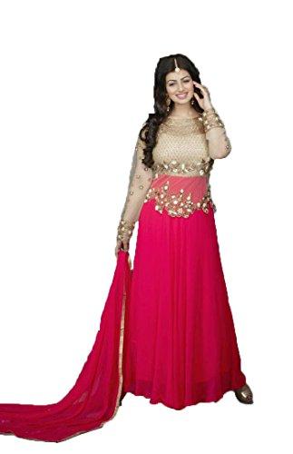 Alka Women's Net And Georgette Designer Anarkali Gown (Free Size_Pink)