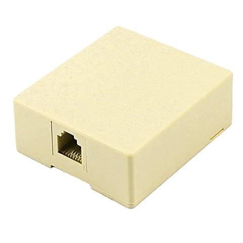 DealMux RJ11 6P4C 4 poligen Anschluss des Netzwerkkabels Oberflächen Jack blockieren Beige (6p4c Oberflächen Jack)