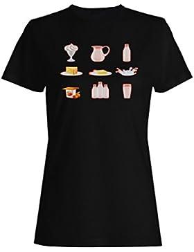 Leche realista iconos conjunto camiseta de las mujeres g634f