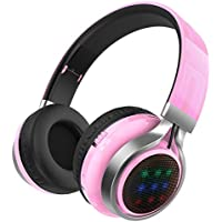 Excelvan Wireless Bluetooth Over Ear Headphones with Flashing Light for Kids Children Support FM Radio TF Card for iPhone 8 7 7plus ipad Tablet Samsung Android Phones (Pink)