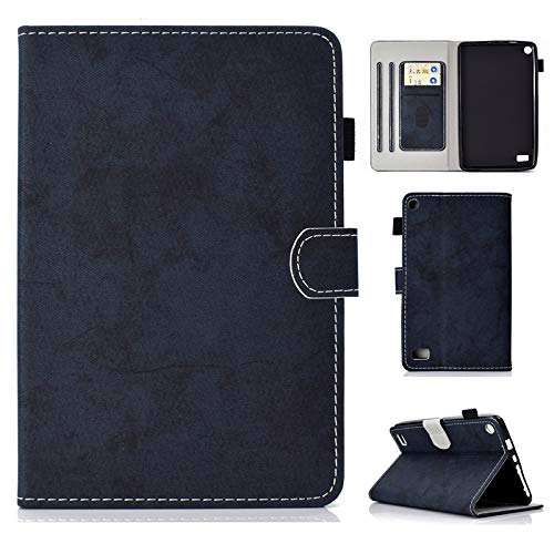 JUFENGYAO Cloth Texture PU Leather Tablet Stand Smart Case Cover mit Auto Sleep/Wake für Amazon Kindle Fire 7 Zoll 5 Generation 2015/7. Generation 2017 Tablethülle (Farbe : Dark Blue)