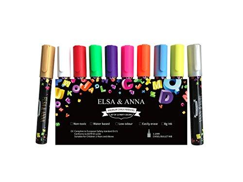 Royaume-Uni Elsa et Anna® Premium marqueurs à craie liquide marqueurs à craie - 5,5 mm Pointe biseau - Lot de 10 couleurs différentes