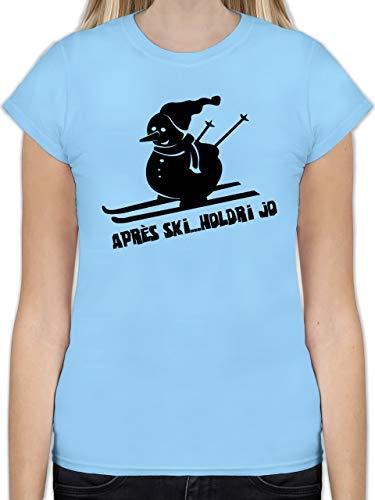 Après Ski - Ski Schneemann - XL - Hellblau - L191 - Tailliertes Tshirt für Damen und Frauen T-Shirt