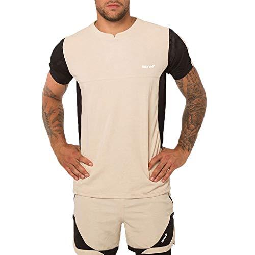 Setsail Herren Casual Modischer Sets Fitness schnell trocknend elastische Kurzarm Kurze Hosen Sportanzug -