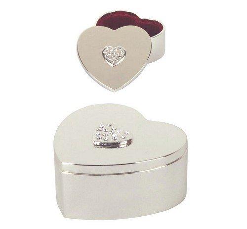 S / P boîte de bibelot de coeur avec des sommets de cristal de coeur